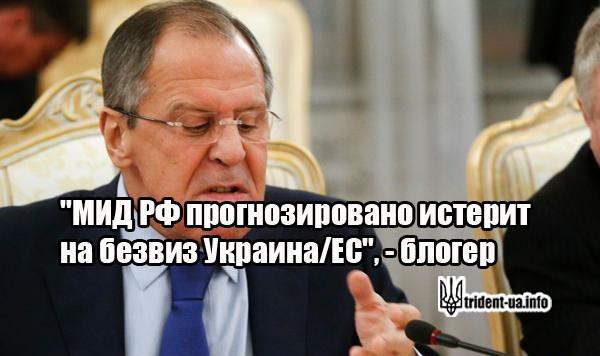 """МИД РФ прогнозировано истерит на безвиз Украина/ЕС"", – блогер"